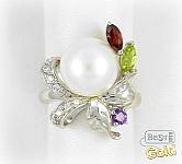 Серебряное кольцо с перламутром и самоцветами
