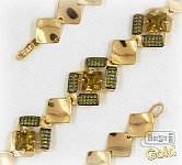 Золотой браслет с султанитом и фианитами