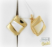 Золотые серьги с перламутром