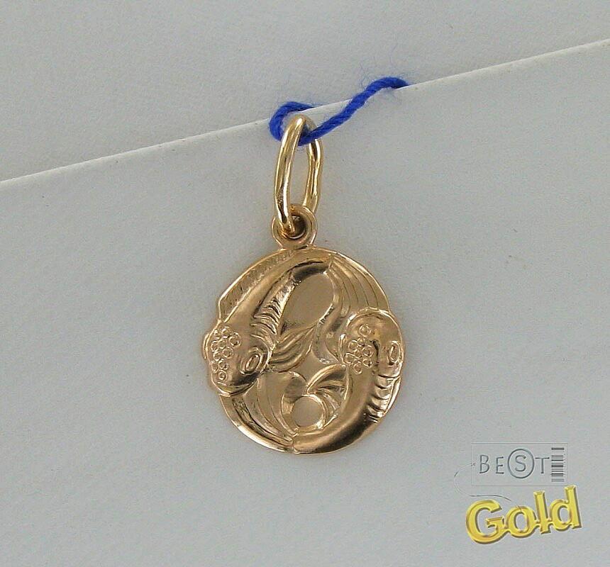 золотая подвеска со знаком зодиака рыбы