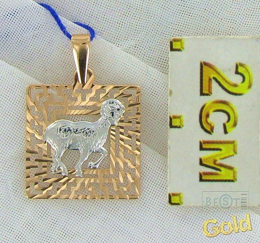 золотая подвеска со знаком зодиака овен