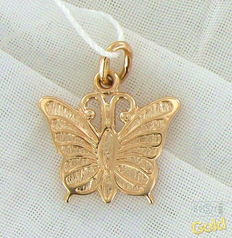 Подвеска бабочка золото 585 пробы