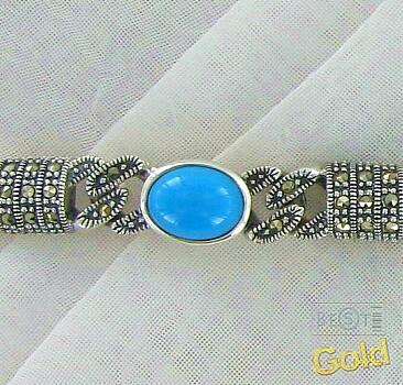 Серебряный браслет с бирюзой и марказитами.