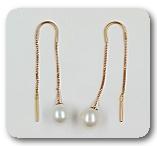 Золотые серьги-протяжки с жемчугом