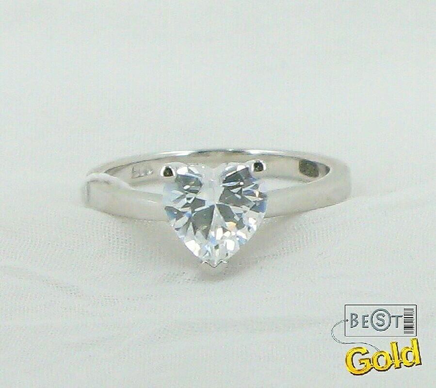 Кольцо из серебра с фианитом в форме сердца