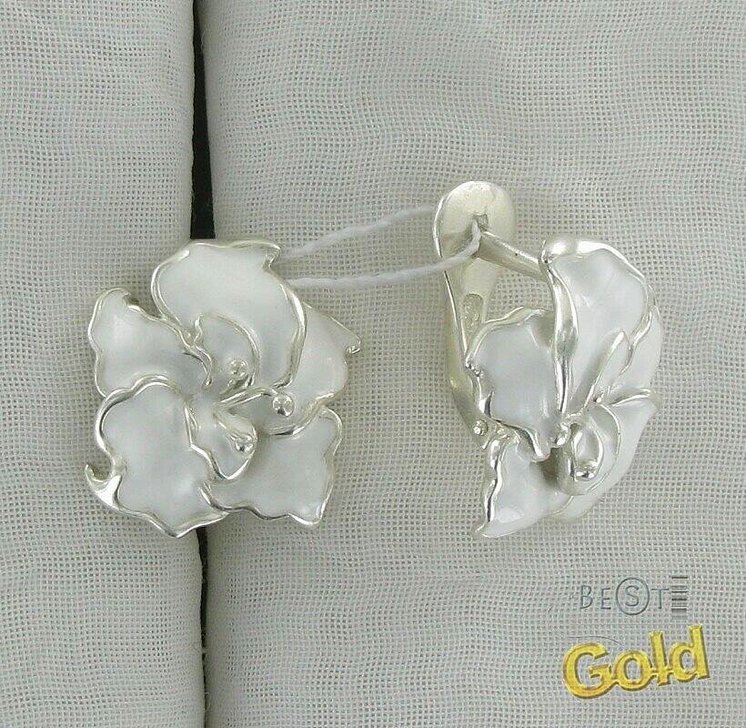 Серебряные серьги в виде цветка