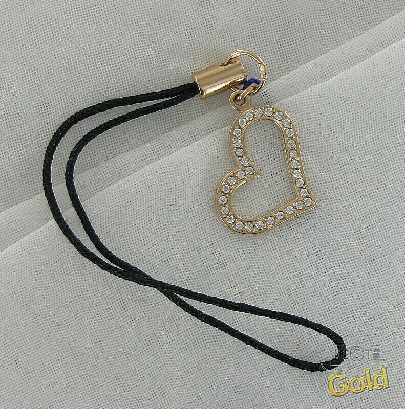 Золотой брелок для мобильного телефона