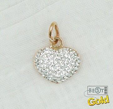 Золотая подвеска с кристаллами Сваровски.  Размер 1,5 см. Миниатюрное золотое сердечко из мерцающих кристаллов...