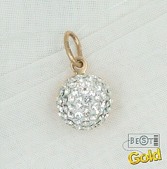 Золотая подвеска с кристаллами Сваровски.  Размер 1,7 см. Мерцающие кристаллы Swarovski в теплом сиянии золота.