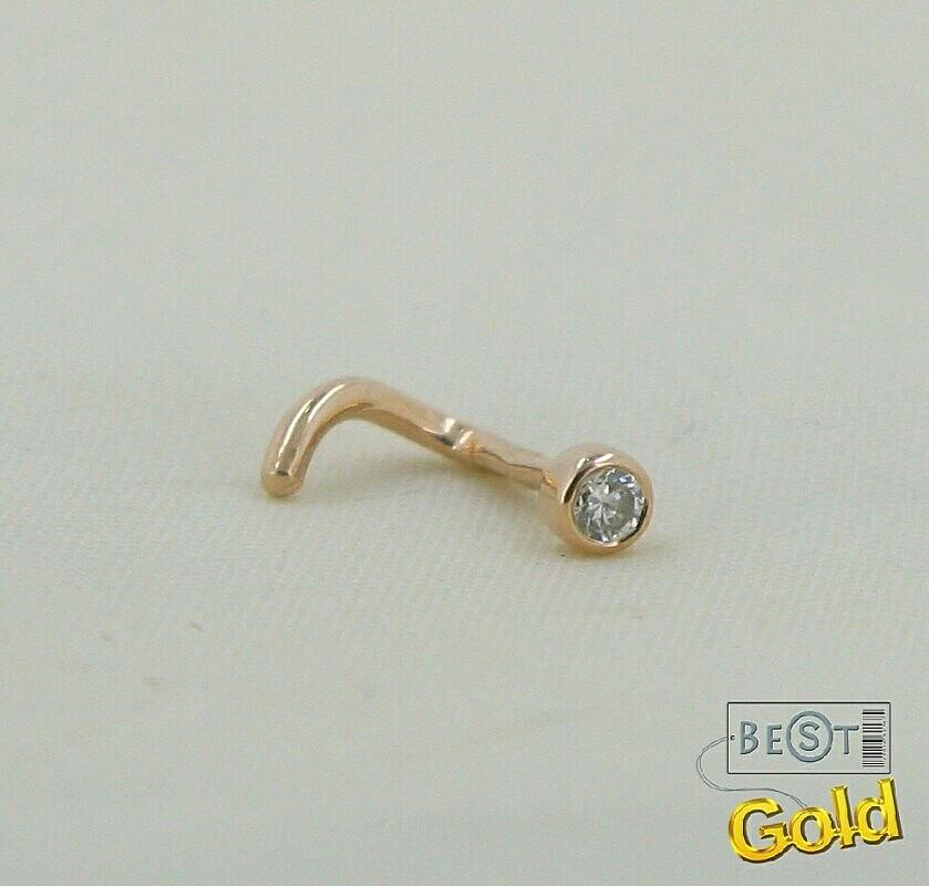 Пирсинг носа золото бриллиант