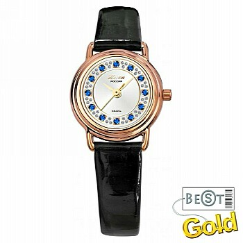 Золотые женские часы с фианитами