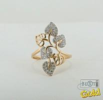 Золотое кольцо листья с фианитами