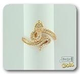 """Золотое кольцо с фианитами  """"Змея """"."""