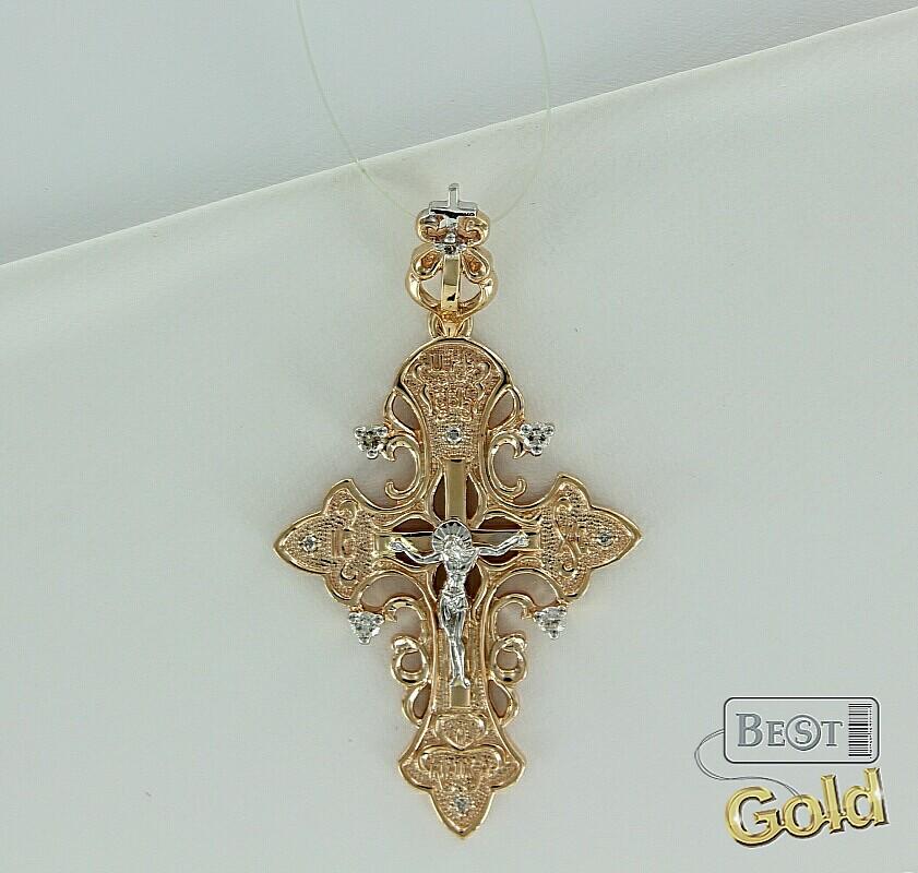 Крест золотой женский с бриллиантами