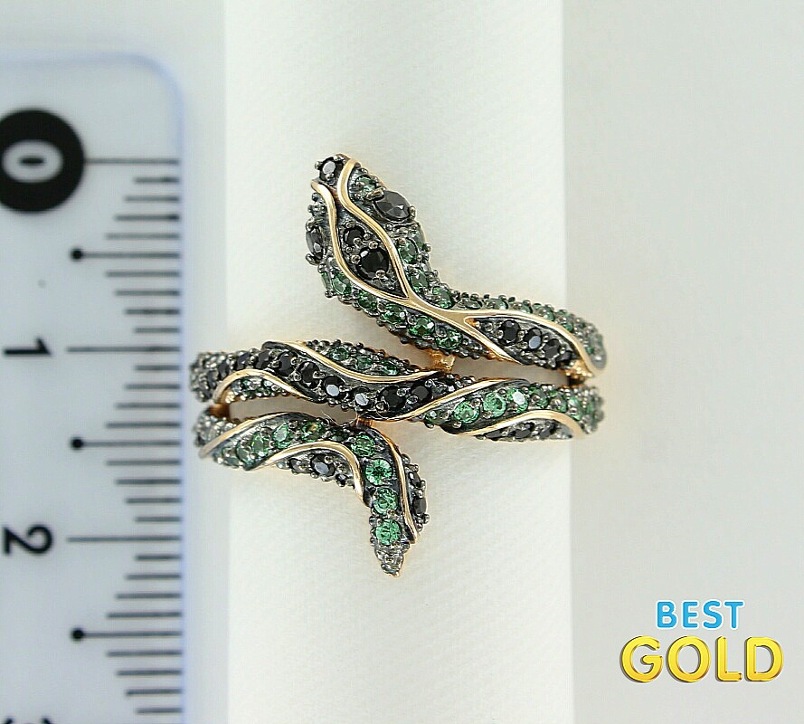"""Золотое кольцо с фианитами  """"змея """" из фотокаталога  """"кольца золото с фианитами """".  Изготовлено из: Красное золото 585..."""