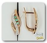 Золотые серьги с изумрудами и бриллиантами