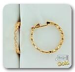 Золотые серьги-кольца с фианитами