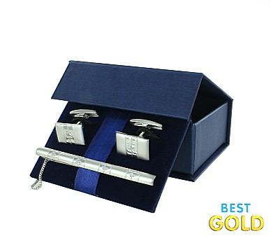 Комплект серебряный зажим для галстука и запонки в коробочке