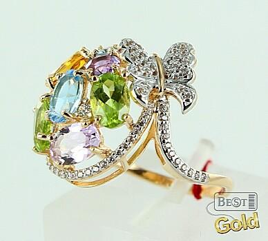 Золотое кольцо с топазами, аметистами, хризолитами, цитрином и фианитами