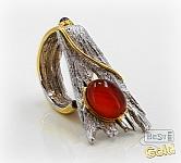 Серебряное кольцо с агатом и гранатом