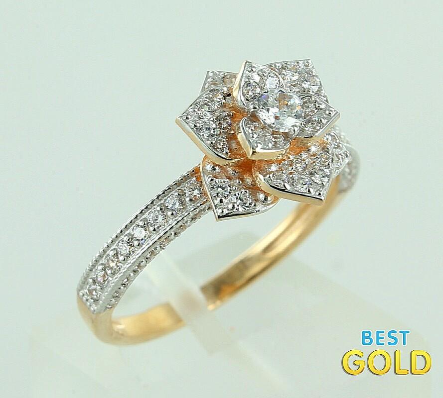 Фото золотое кольцо в виде цветка