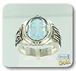 """Серебряное православное кольцо с кварцем и бриллиантами """"Процветший крест"""""""