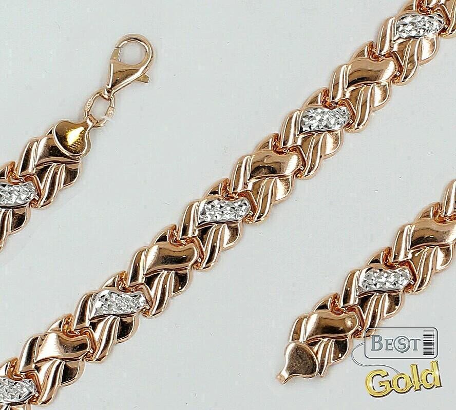 Не дутое плетение золотые браслеты 63