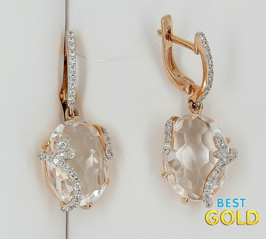 Золотые украшения с горным хрусталем фото
