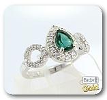 Серебряное кольцо с турмалином и фианитами