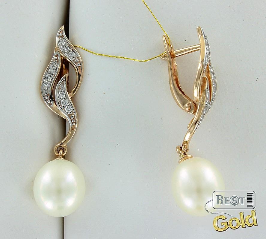фото золотые сережки с жемчугом