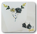 Комплект колье и серьги с кристаллами, цирконами и эмалью