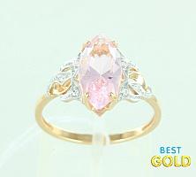 Золотое кольцо с марганитом и фианитами