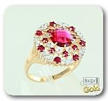 Золотое кольцо с корундом и фианитами