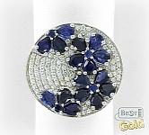Серебряное кольцо с искусственными сапфирами и фианитами