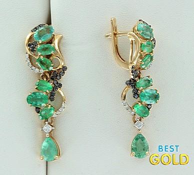 Золотые серьги с бриллиантами и изумрудами