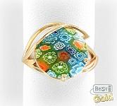 Золотое кольцо с муранским стеклом