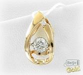 Золотая подвеска с танцующим бриллиантом