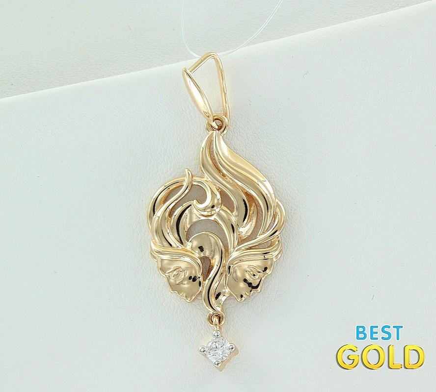 золотая подвеска со знаком зодиака