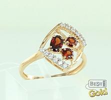 Золотое кольцо с гранатами и фианитами