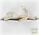 """Двойное золотое кольцо с фианитами """"Змея"""""""