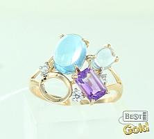Золотое кольцо с топазами, аметистом и фианитами