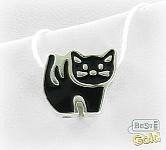 """Серебряная подвеска-шарм """"Черная кошка"""""""