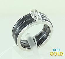 Серебряное кольцо с керамикой и цирконами