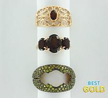 Золотое кольцо-трансформер с гранатами, ситаллом и фианитами