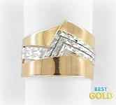 золотое комбинированное кольцо