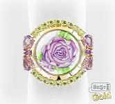 Золотое кольцо с аметистами, хризолитами и финифтью