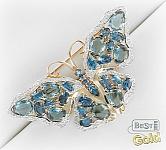 """Золотая брошь-подвеска с топазами Лондон, ситаллами и фианитами """"Бабочка"""""""