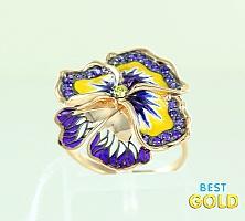 """Золотое кольцо с фианитами и эмалью """"Цветок"""""""