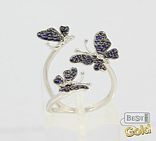 "Золотое кольцо с сапфирами и бриллиантами ""Бабочки"""