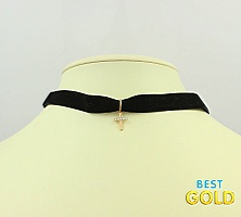 Чокер с золотым крестиком